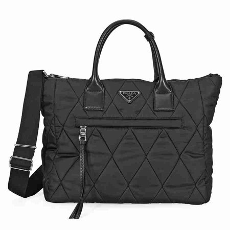 - Prada Medium Quilted Nylon Tote- Black