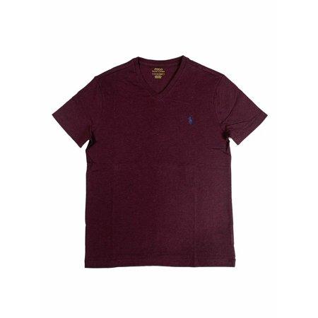 Ralph Lauren Polo Mens Pony Logo V-Neck Cotton Shirt Green/Burgundy/Blue New (Burgundy,S)