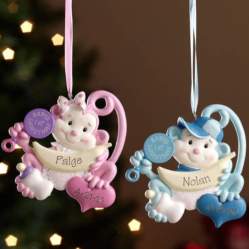 Personalized Baby's First Christmas Monkey Ornament