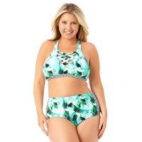 8133037d83c9c Product Image Allure Juniors Plus Size High Waist Strappy Side Swim Bottom