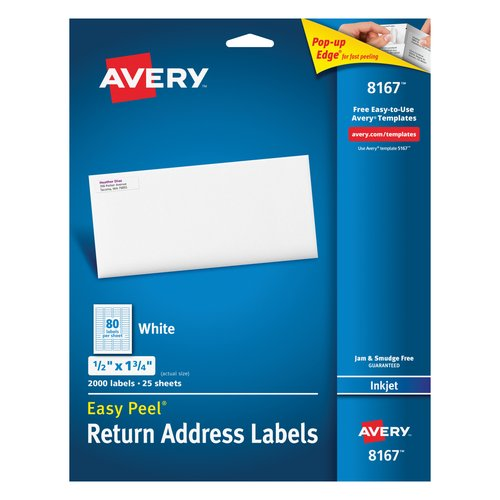"Avery 8167 Easy Peel White Return Address Labels for Inkjet Printers, 1/2"" x 1-3/4"", 2000 Labels/Pack"