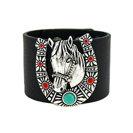 Horse Horseshoe Wide Leather Bracelet Equine Equstrian Western Theme Cowgirl Cow Girl - Cowgirl Horseshoe