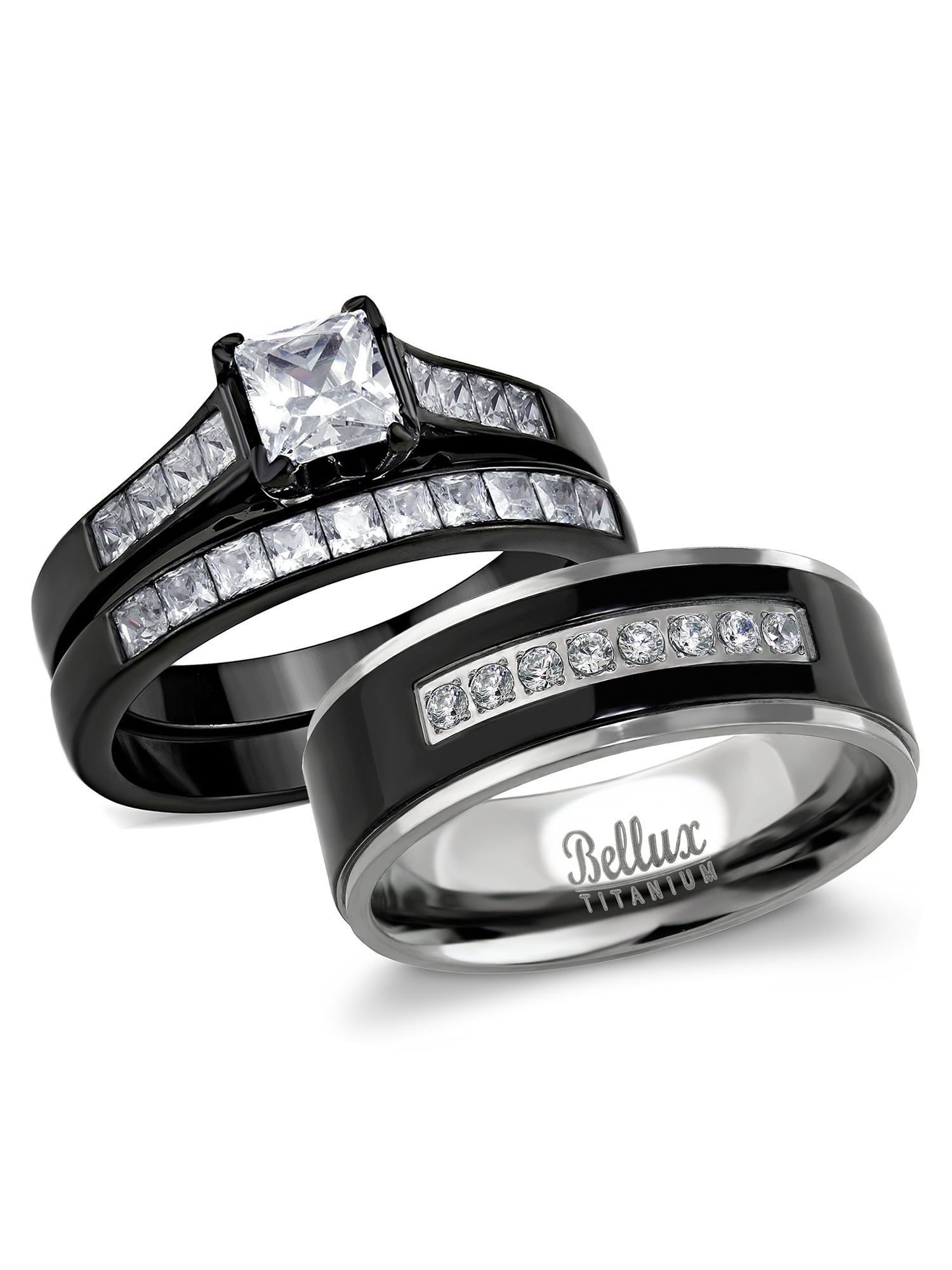 It is just an image of Bellux Style - His and Hers Wedding Ring Sets Couples Black Stainless Steel Cubic Zirconia Bridal Sets Wedding Rings - Walmart.com