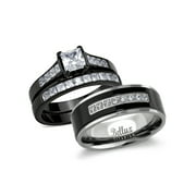 His and Hers Wedding Ring Sets Couples Black Stainless Steel Cubic Zirconia Bridal Sets Wedding Rings