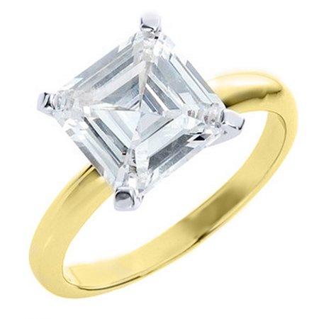 14k Yellow Gold 1 Carat Solitaire Asscher Cut Diamond Engagement Ring