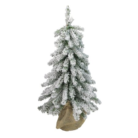 1.25' Potted Flocked Downswept Mini Village Pine Medium Artificial Christmas Tree - Unlit ()