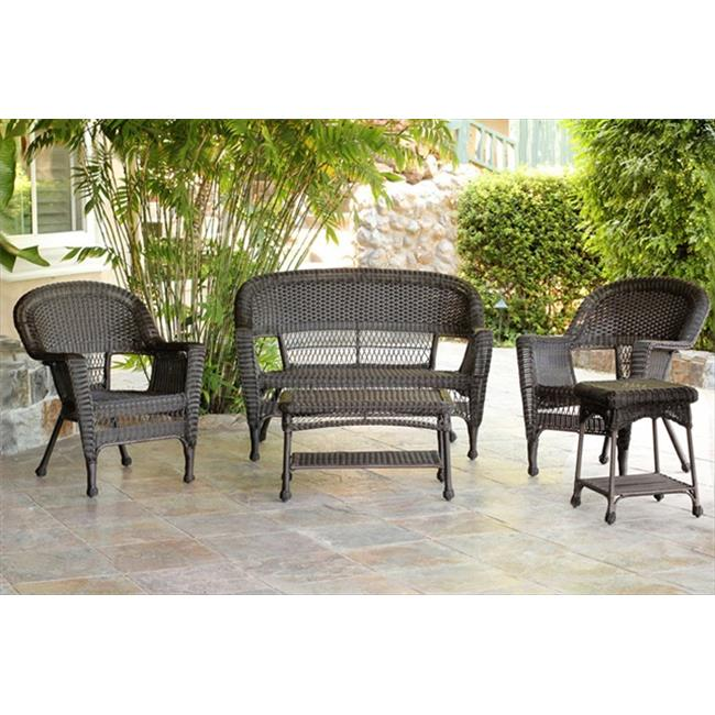 Jeco W00201-G-OT 5 Piece Espresso Wicker Conversation Set