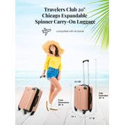 """Travelers Club Chicago 20"""" Hardside Rolling Carry On Luggage"""