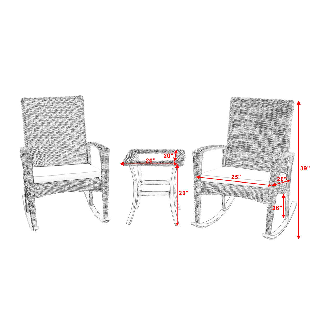 Gymax 3PC Patio Rattan Wicker Furniture Set Cushioned Outdoor Garden - image 7 of 8
