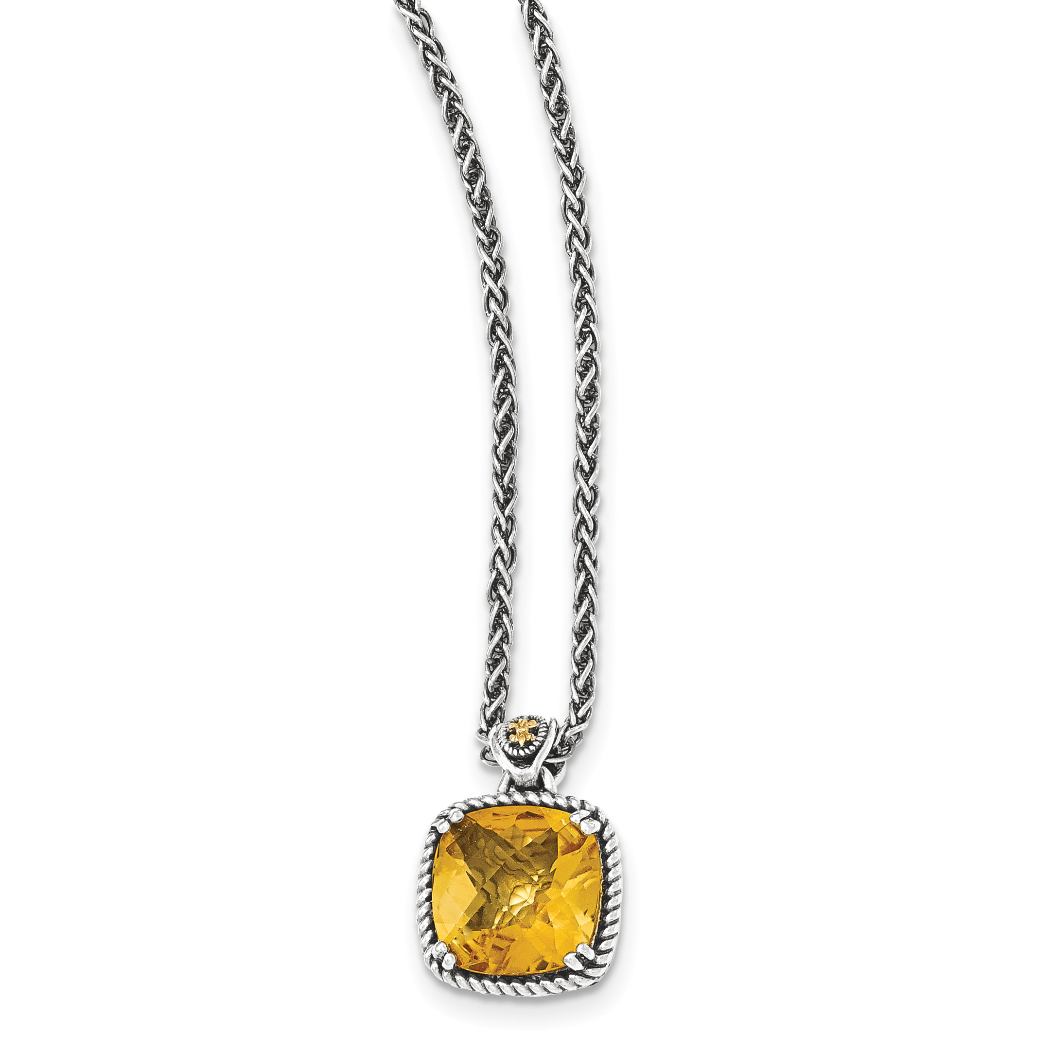 Sterling Silver w 14k Citrine Necklace by Saris and Things QG