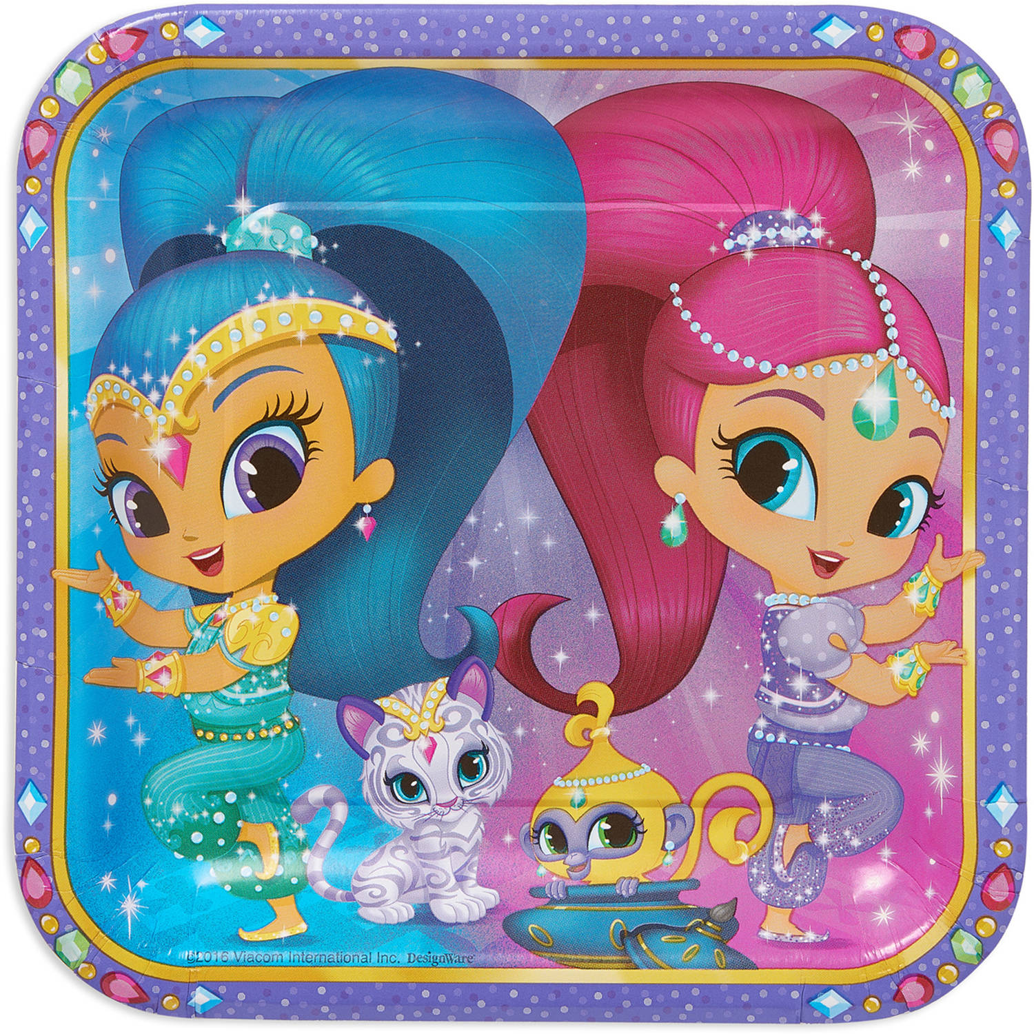 "Shimmer and Shine 9"" Square Plate, 8 Count, Party Supplies"