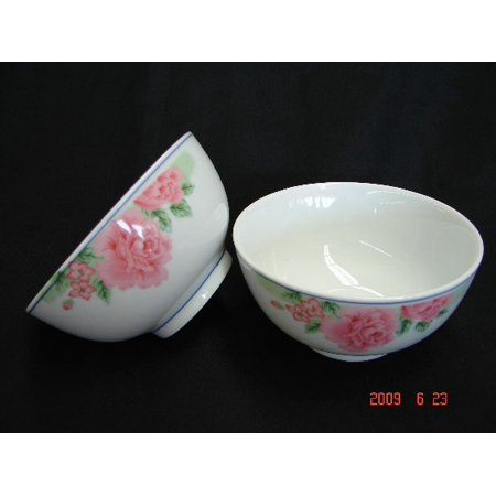 Imports Porcelain (4 of Porcelain Rice Bowls with Red Flower Pictures)