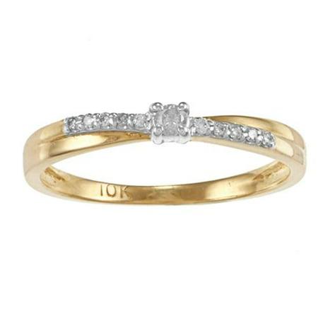 Auriya   10K Two Tone Gold 1 10Ct Tdw Round Diamond Promise Ring  J K  I1 I2