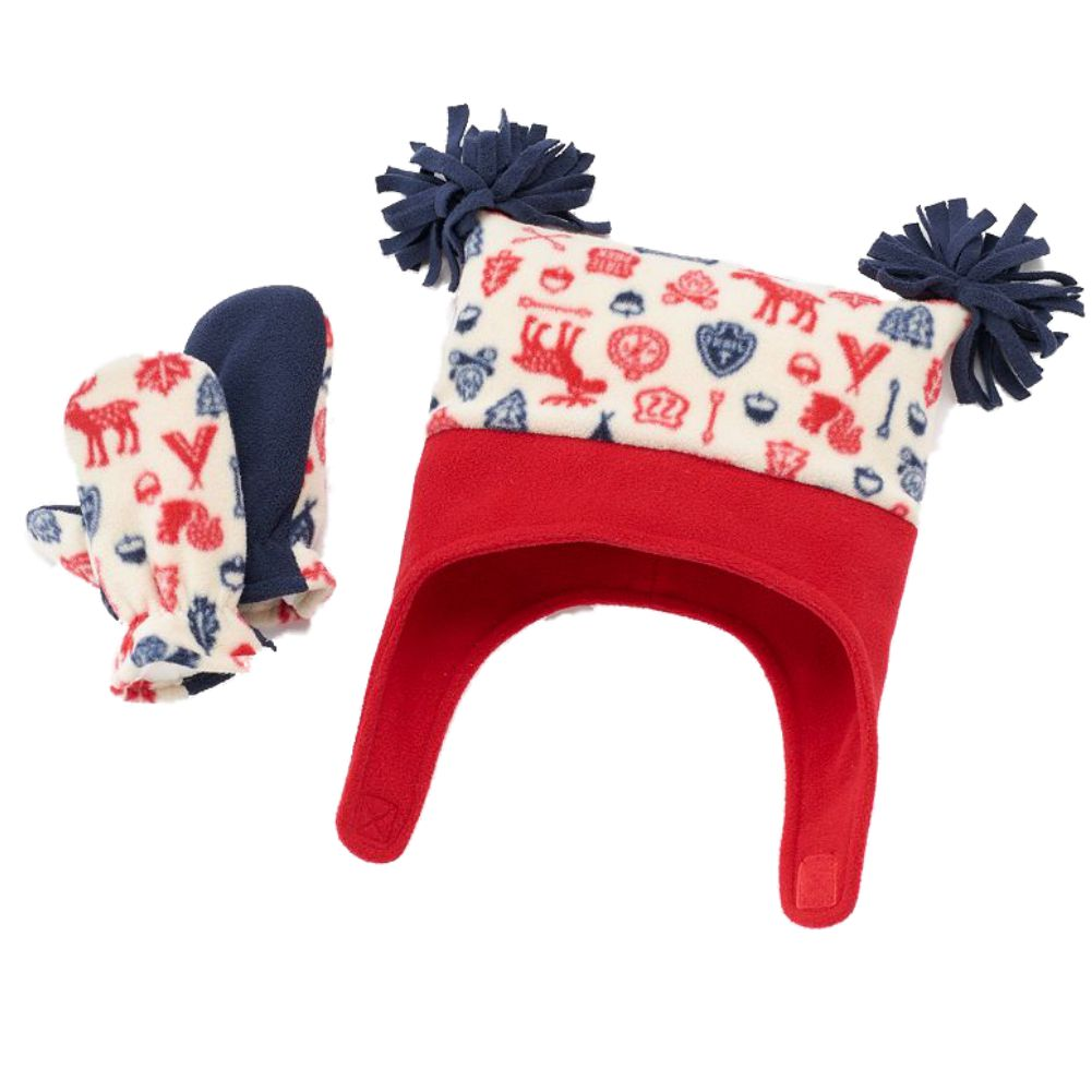 JUMPING BEANS Boys Hat Mittens Set  red //blue Size 6 18 months NEW