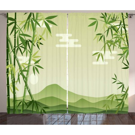 Green Leaf Curtains 2 Panels Set, Abstract Bamboo Trees in Japanese Forest Botanical Oriental Outdoors, Window Drapes for Living Room Bedroom, 108W X 96L Inches, Lime Green Pale Green, by Ambesonne ()