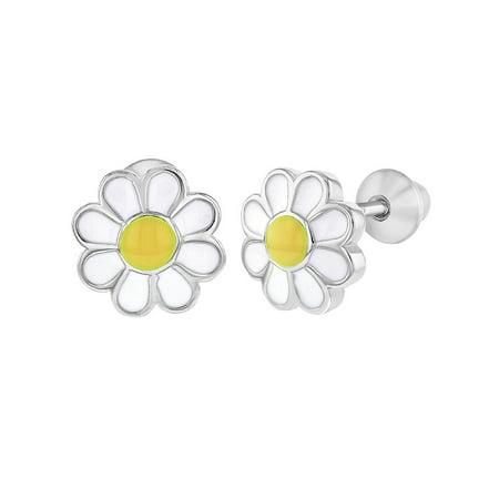 925 Sterling Silver Enamel Daisy Flower Earrings Screw Back Baby -