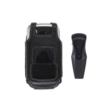 (Wireless Solutions Fitted Leather Case with Belt Clip for Motorola Entice W766 - Black)