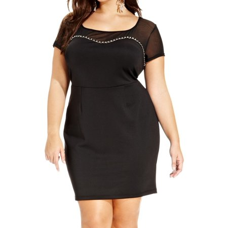 Trixxi NEW Black Womens Size 2X Plus Chain Trim Illusion Sheath Dress