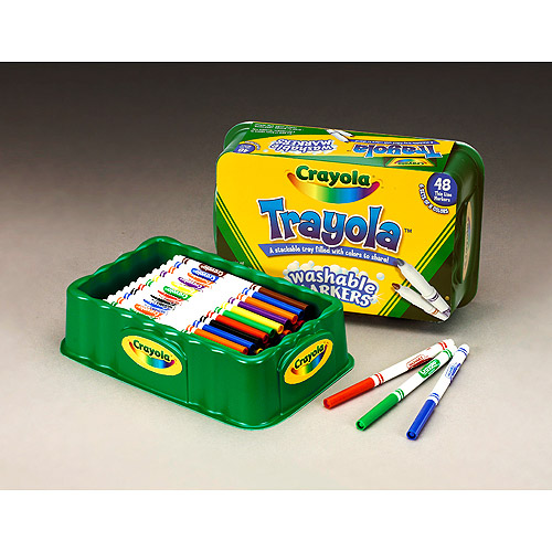 Crayola 48-Count Trayola Washable Markers Fine Tip, 6 Sets of 8 Colors