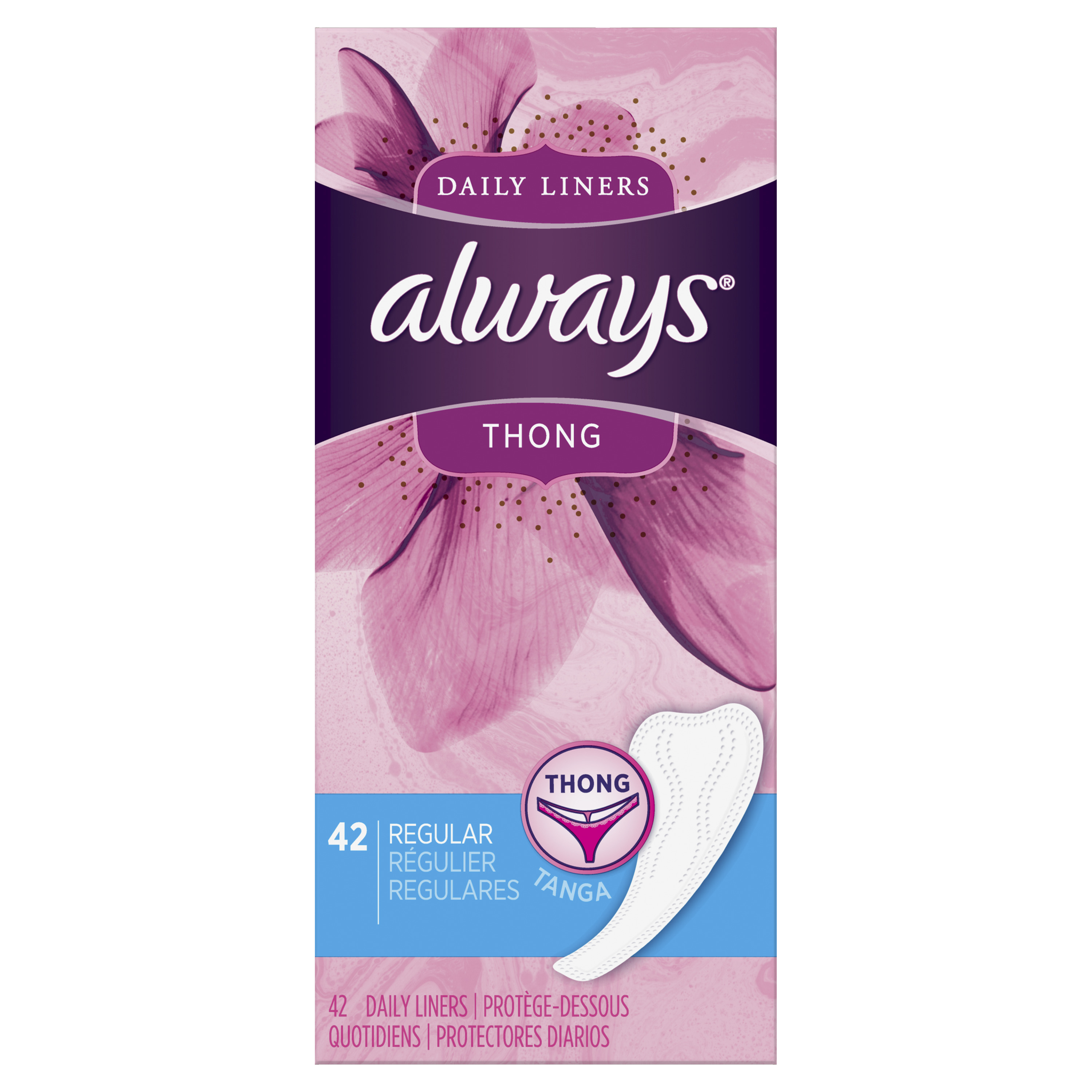 Always Thong Daily Liners, Unscented, Regular, 42 Count