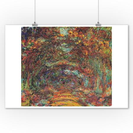 The Rose Walk - Masterpiece Classic - Artist: Claude Monet c. 1920s (9x12 Art Print, Wall Decor Travel Poster) - 1920s Room Decor