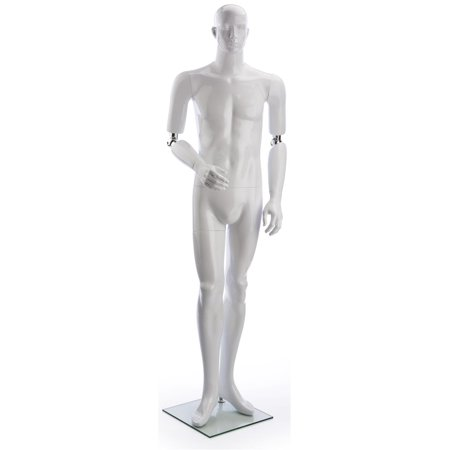 Male Full Body Retail Store Mannequin, Poseable Arms (Glossy White Fiberglass, Glass Base) (MALEAAWH)