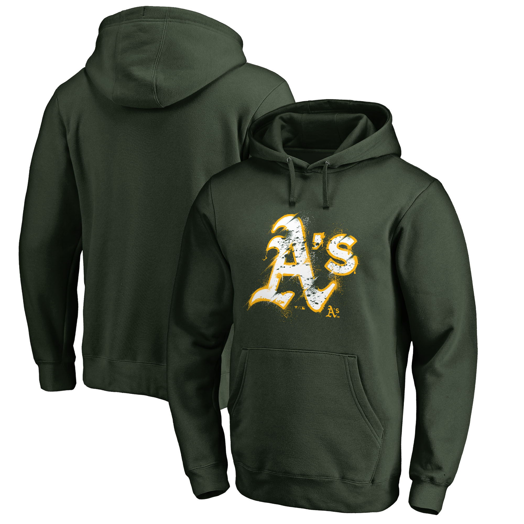 Oakland Athletics Fanatics Branded Splatter Logo Pullover Hoodie - Green