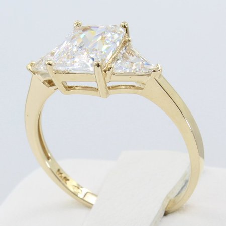 8mm Trillion Prong Ring Setting - 2.00 Ct 14K Real Yellow Gold 3 Three Stones Emerald Cut Center and Trillion Triangle Shape on Sides 4 Prong Basket Setting Engagement Wedding Propose Promise Ring