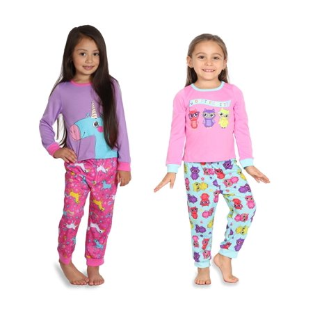Toddler Girls Long Sleeve 4-Pc PJ Set, Unicorns, Owls, Kittens and Puppies, Cutest Unicorn, Size: - Cutest Kid Clothes