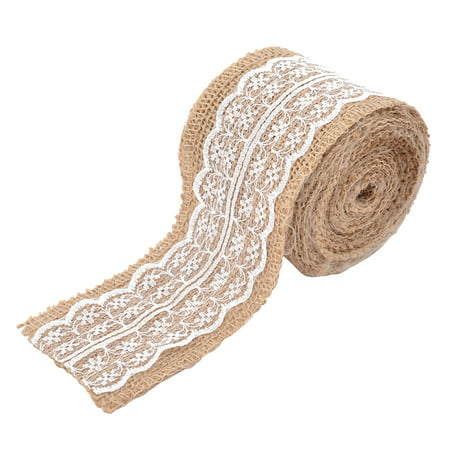 Wedding Party Lace Edge Decor Craft Burlap Ribbon Strap Roll White 3.3 Yards - Lace Ribbon Bulk