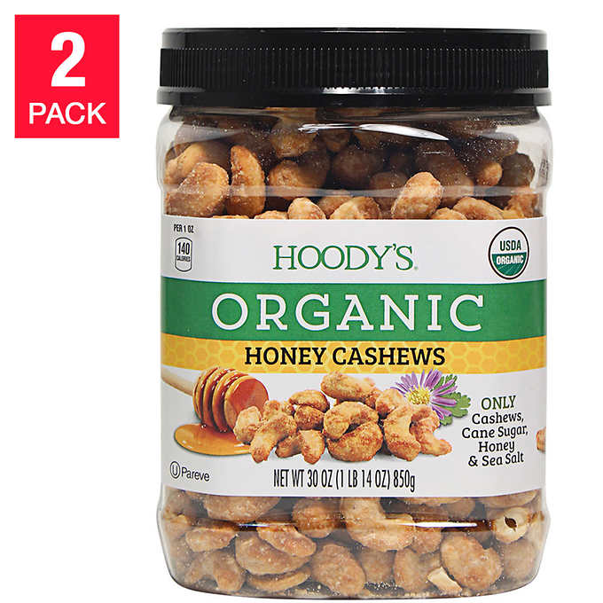 Hoody's Organic Honey Cashews 30 oz, 2-count by