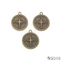 Antique Goldtone Compass Charms