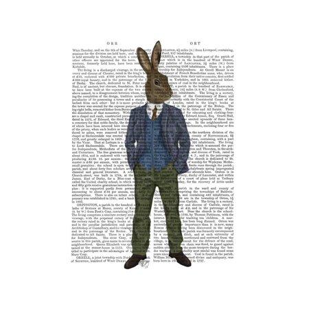 Rabbit in Blue Waistcoat Print Wall Art By Fab Funky