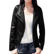 Women Stand Collar Inclined Zip Closed Layered PU Jacket Black M