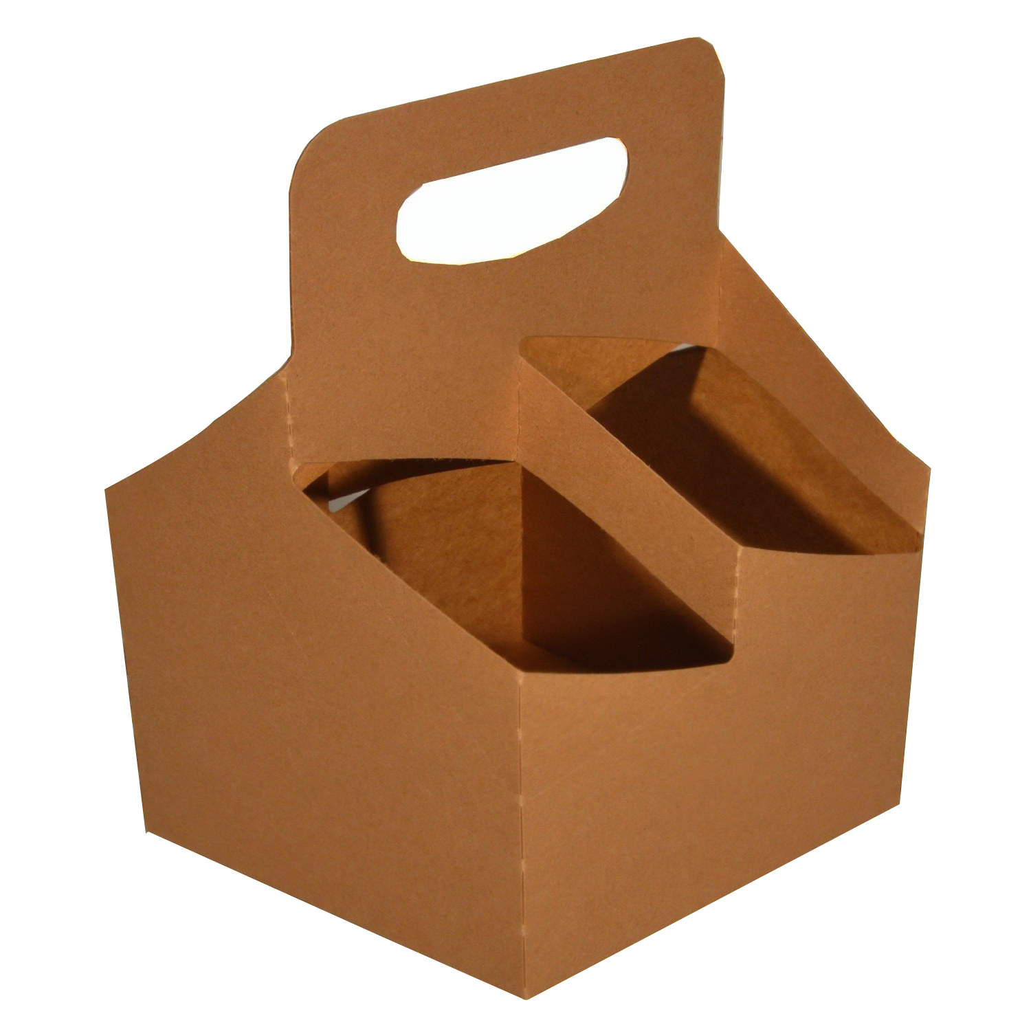 "Southern Champion Kraft Board Recycle Carry Tray With Handle, 6 - 24 oz., 6.5"" Length x 6.25"" Width 