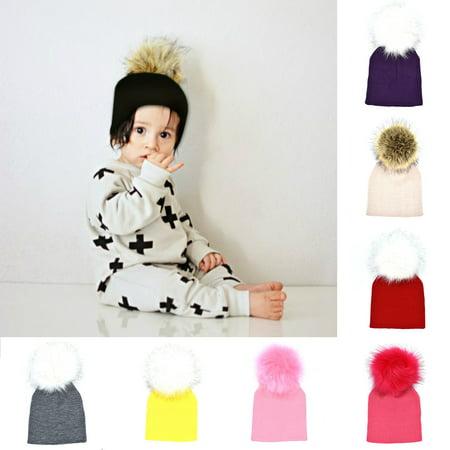 8bb7c7453ac HiCoup - HiCoup Baby Girl Infant Winter Warm Knitted Beanie Faux Fur Pom Pom  Bobble Xmas Gift - Walmart.com