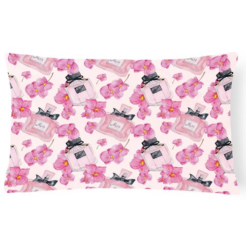 Zoomie Kids Siri Watercolor Flowers and Perfume Indoor/Outdoor Throw Pillow
