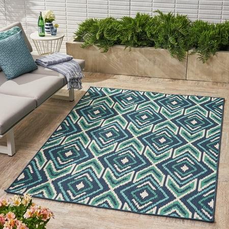 Indoor Outdoor Geometric 5 X 8 Area Rug Navy Green