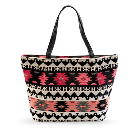 Women's Stylish Southwest Aztec Pattern Tapestry Tote Bag with Two Pockets and a Zipped Compartment, One Size,