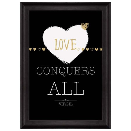 Wall26 Black And White With Gold Quote Love Conquers All By