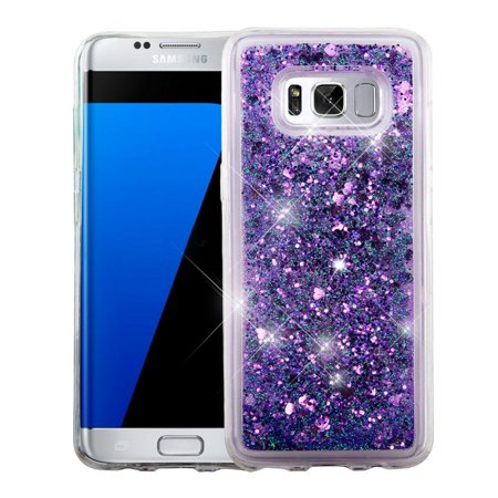 Insten For Samsung Galaxy S8 Plus Purple Hearts Hard TPU Glitter Case Cover