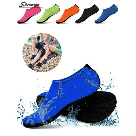 Spencer Men Women Barefoot Water Skin Shoes Aqua Socks for Beach Swim Surf Yoga Exercise (Mens Orange Dress Socks)