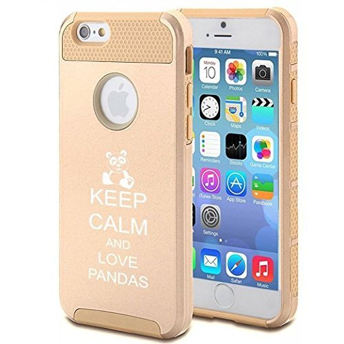 Apple iPhone 6 6s Hybrid Shockproof Impact Hard Cover / Soft Silicone Rubber Inside Case Keep Calm and Love Pandas (Gold)