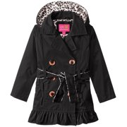 Little Girls' Toddler Double Leopard Lining Trench Raincoat Jacket, Black, 4T