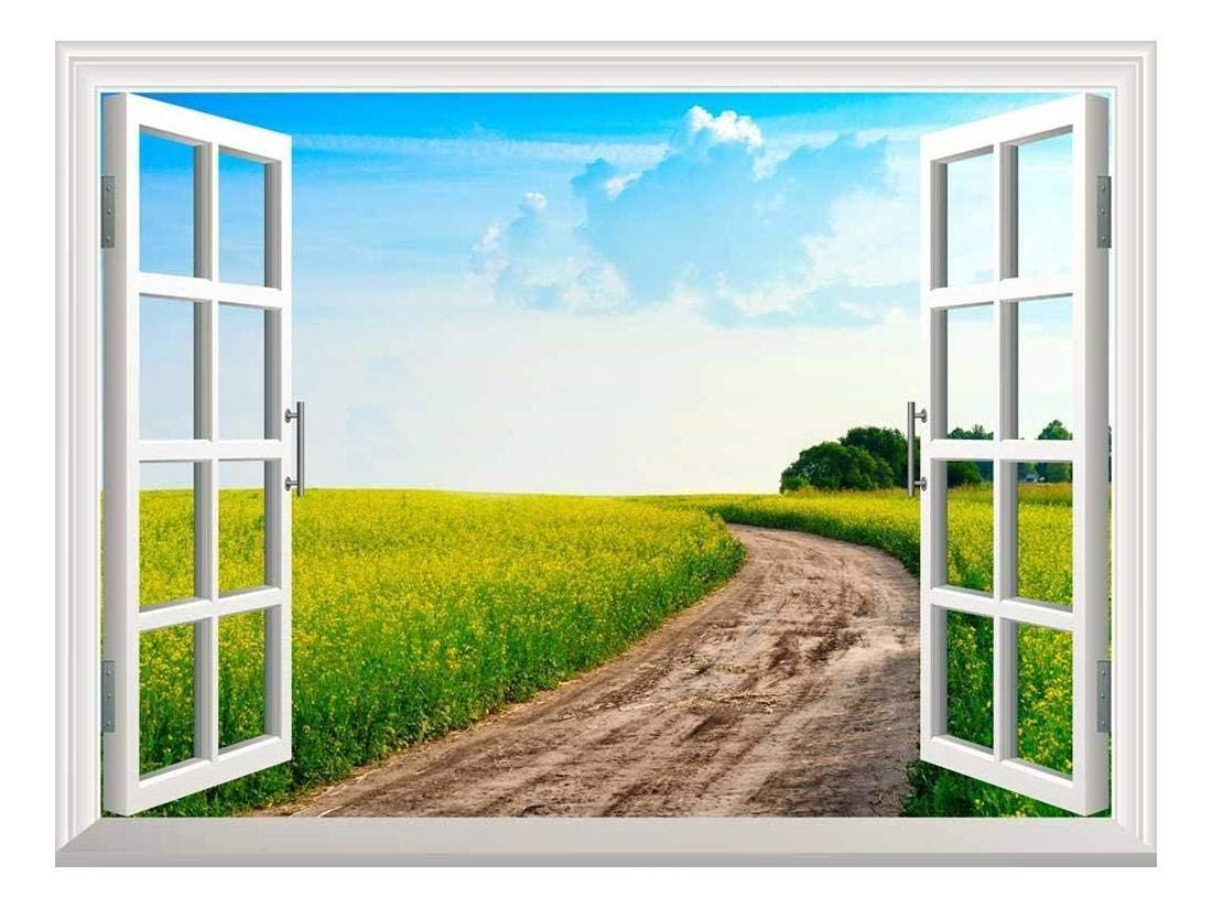 """wall26 Removable Wall Sticker/Wall Mural - Peaceful Summer Rural Landscape in Wide Field with Country Road 