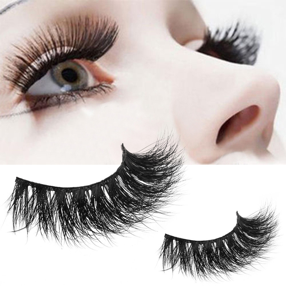 Outtop 1 Pair Crisscross 3D False Eyelashes Long Thick Natural Fake Eye Lashes
