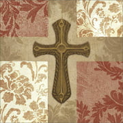 Four Panel Abstract Pattern Damask Floral Cross Religious Painting Red & Tan Canvas Art by Pied Piper Creative