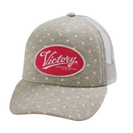 Womens Trucker Hat (Victory Motorcycle New OEM Women's Grey & White Marl Trucker Hat,)
