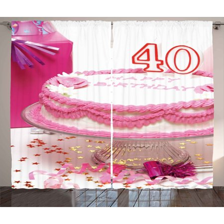 40th Birthday Decorations Curtains 2 Panels Set Pink Cream Cake With Candlesticks Present Surprise Party