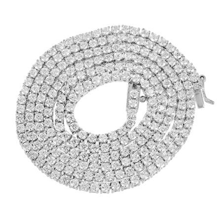 Tennis Link Necklace Solitaire Link Round Cut Lab Created Cubic Zirconias 18 Inch 3 MM Mens
